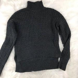 Loft Gray Chunky Waffle Knit Turtleneck Sweater
